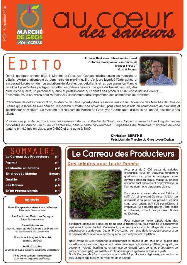 aucœurdes saveurs N°19-Septembre2016 Edito SommaireLe Carreau des Producteurs p.1 Agenda p.1 Le Marché en actions  p....