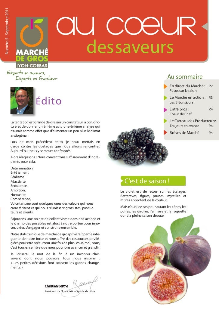 Au Coeur des Saveurs - N°5 - Journal du Marché de Gros Lyon-Corbas