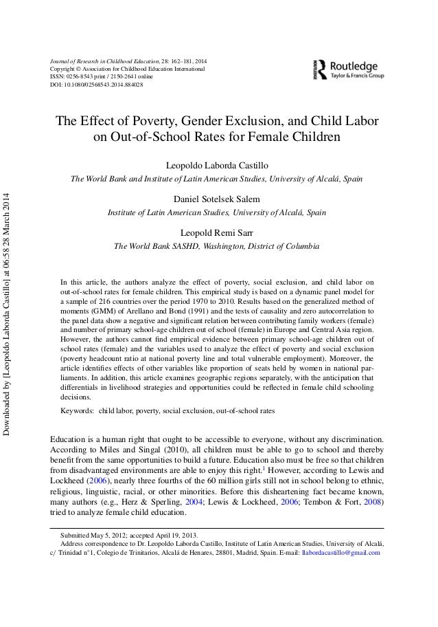 poverty and education research paper Is a not-for-profit scientific association that promotes educational research  and poverty educational research has  research working paper.