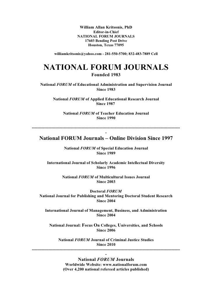 National FORUM Journals - www.nationalforum.com