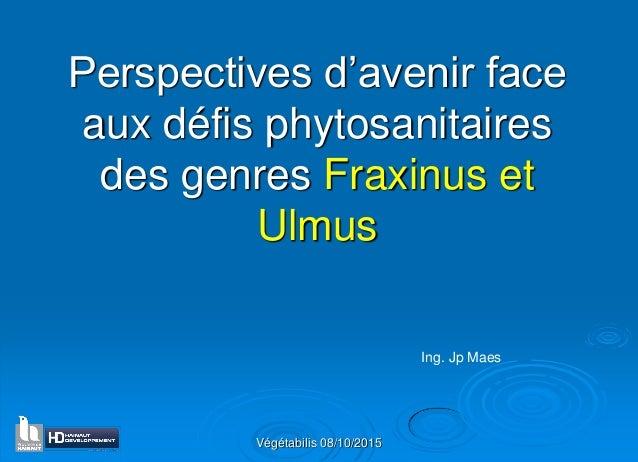 Végétabilis 08/10/2015 Perspectives d'avenir face aux défis phytosanitaires des genres Fraxinus et Ulmus Ing. Jp Maes