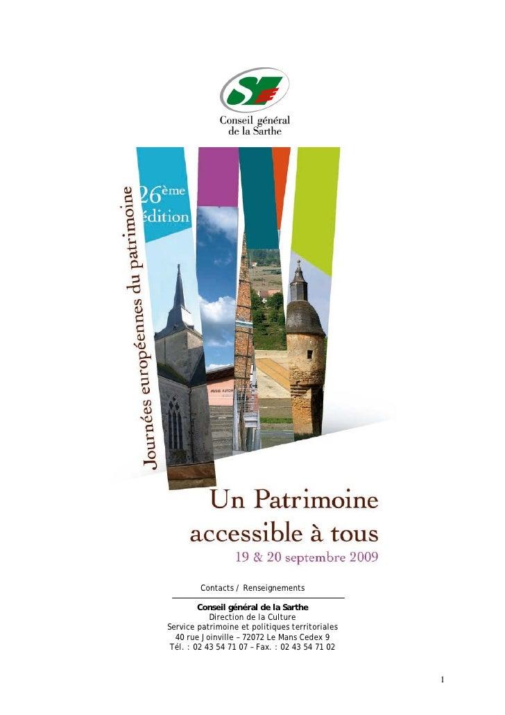 Journées Européennes Patrimoine 2009 Sarthe