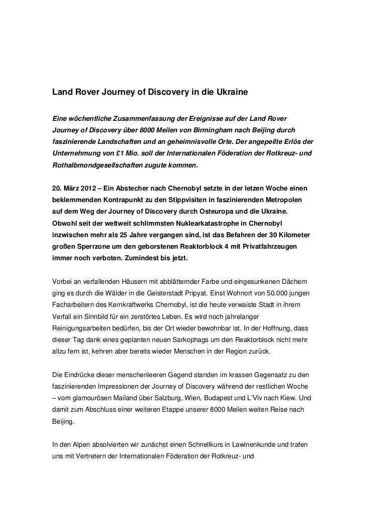 Land Rover Journey of Discovery in die UkraineEine wöchentliche Zusammenfassung der Ereignisse auf der Land RoverJourney o...