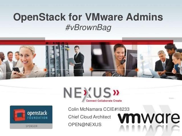 www.Nexusis.com 877.286.39871 OpenStack for VMware Admins #vBrownBag Connected VSPEXTM Connected VSPEXTM Colin McNamara CC...