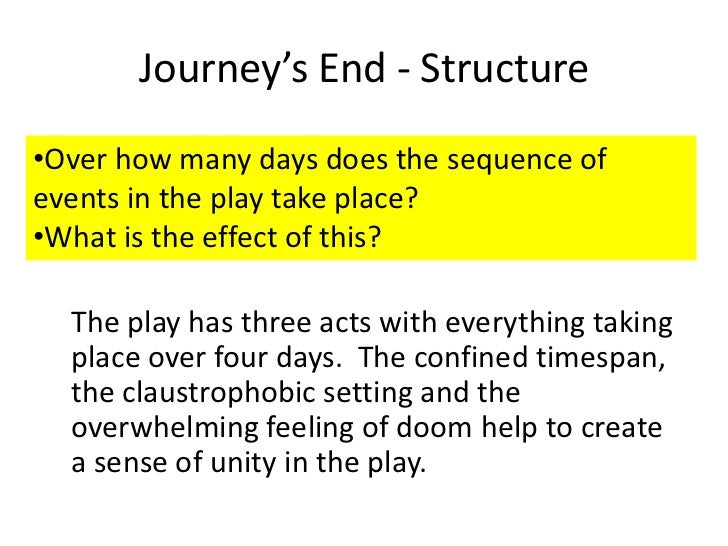 Journey's End - Structure•Over how many days does the sequence ofevents in the play take place?•What is the effect of this...