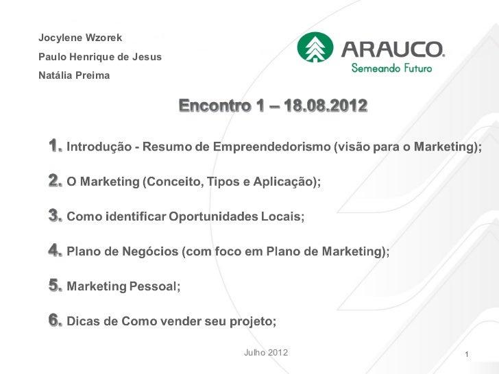 MarketingJocylene WzorekPaulo Henrique de JesusNatália Preima                          Julho 2012               1