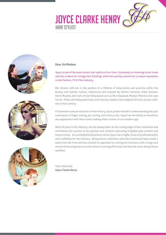 Joyce Clarke Henry Hairdresser Cover Letter