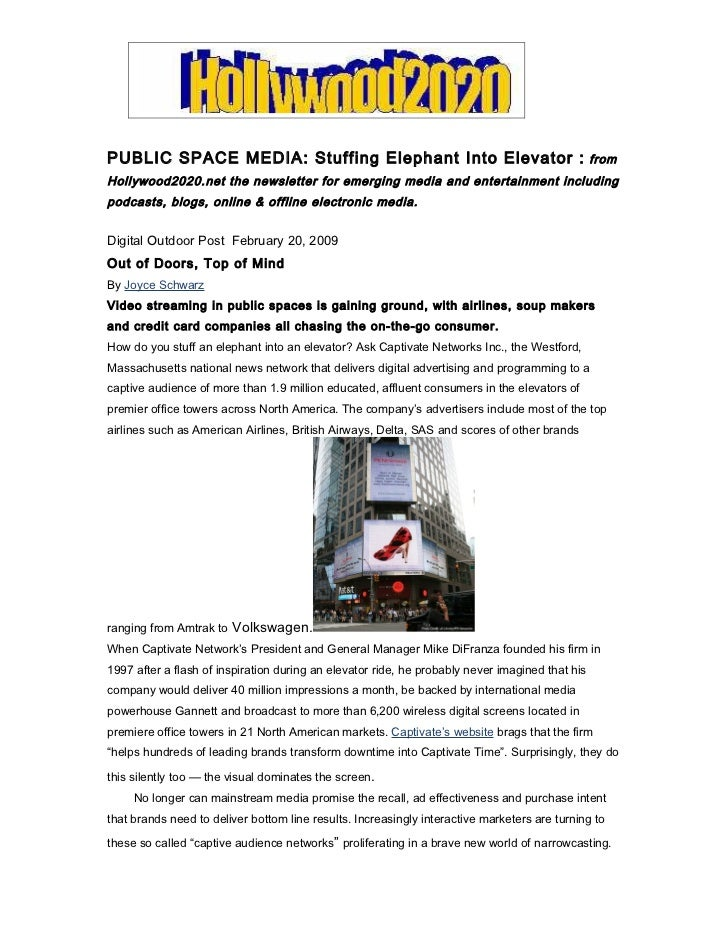 PUBLIC SPACE MEDIA: Stuffing Elephant Into Elevator :                                            fromHollywood2020.net the...