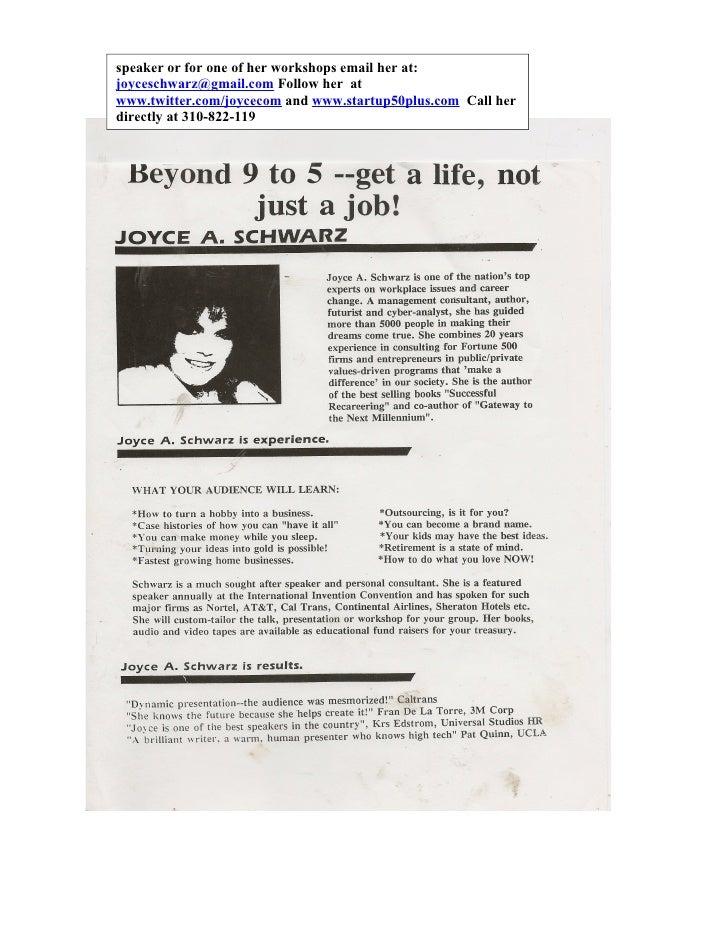 Beyond 9 to 5 by Joyce Schwarz, author/speaker