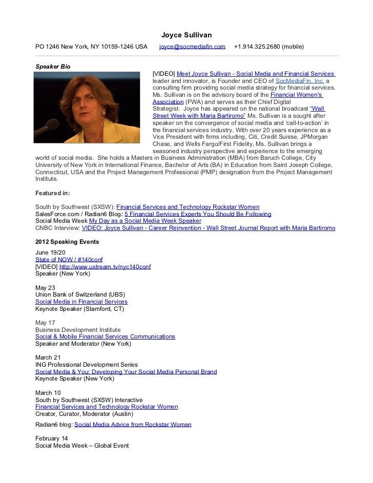 Joyce Sullivan: Social Media Innovation Leader - Speaker Profile and Events Appearance