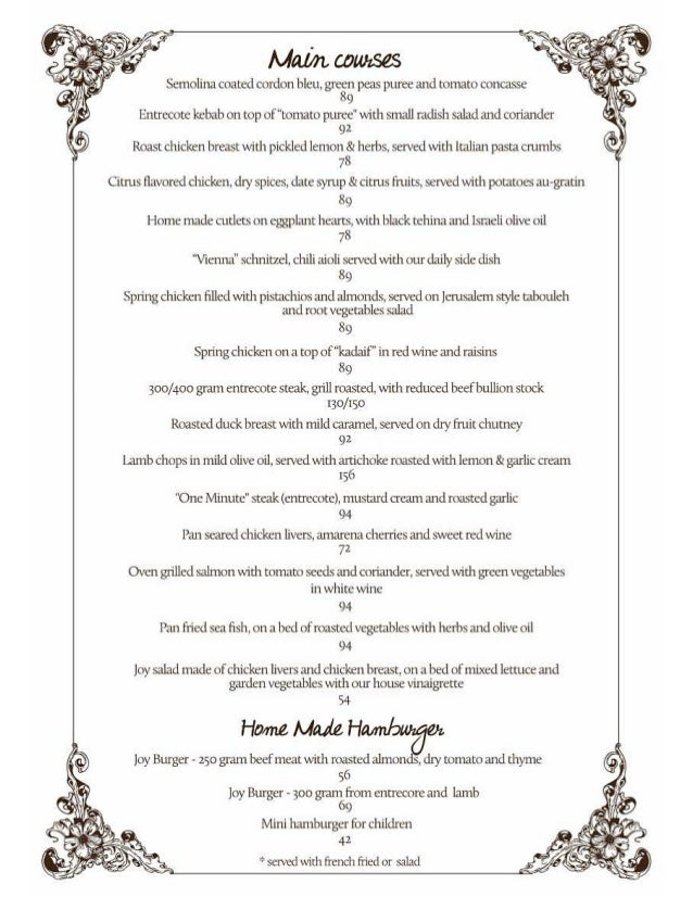 Joy english menu main course
