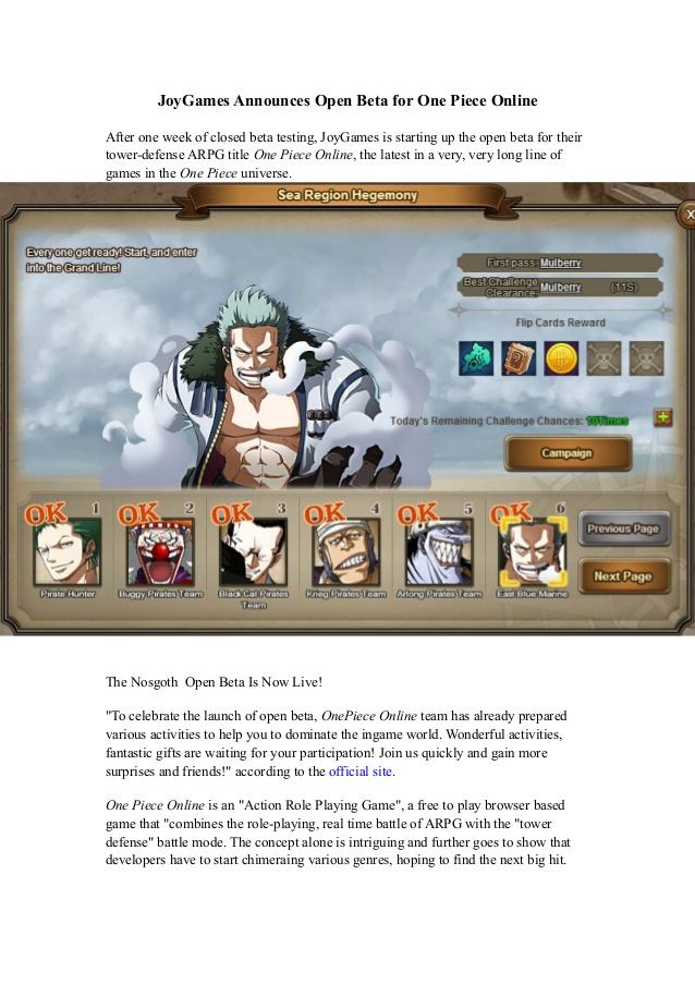 Joy games announces open beta for one piece online