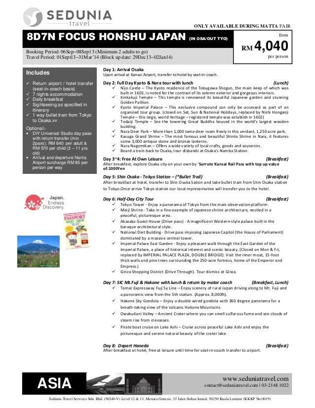 www.seduniatravel.com contact@seduniatravel.com | 03-2148 1022 Sedunia Travel Services Sdn. Bhd. (30240-V) Level 12 & 13, ...