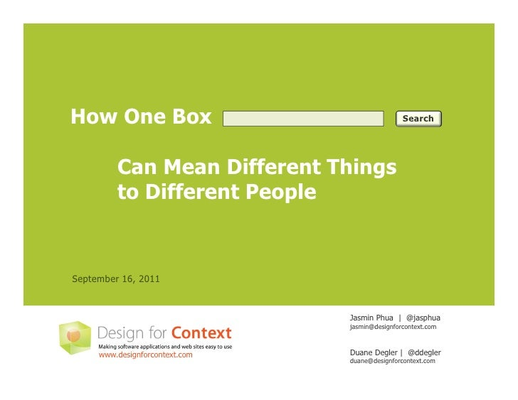 How One Box                                     Search         Can Mean Different Things         to Different PeopleSeptem...