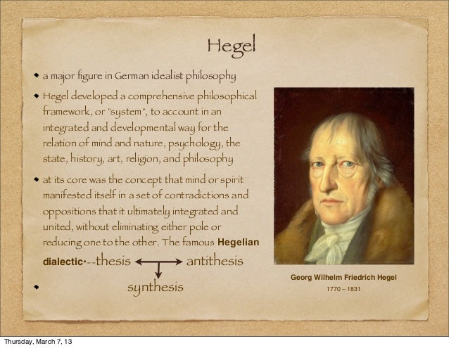 define thesis hegel Hegelian dialectic process which in turn becomes a new thesis opposed by antithesis hegel said that history was nothing but the expression of this flux.