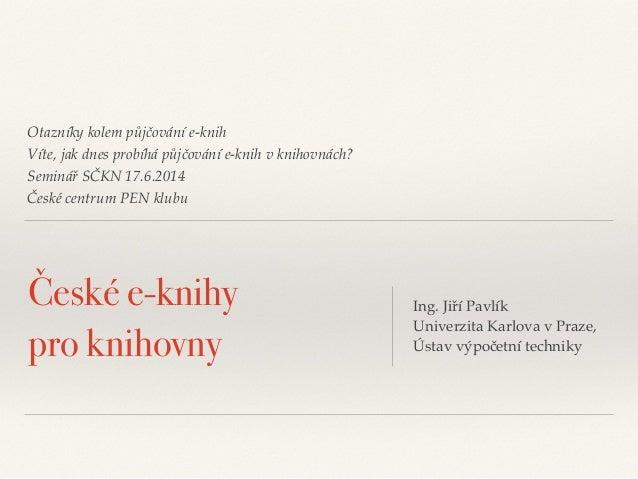 České e-knihy pro knihovny