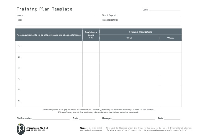 Jpabusiness staff training plan template for End user training plan template
