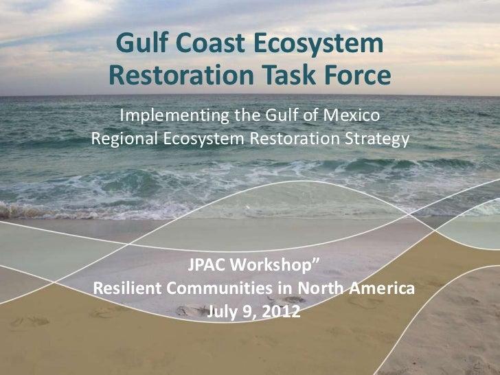 Gulf Coast Ecosystem  Restoration Task Force   Implementing the Gulf of MexicoRegional Ecosystem Restoration Strategy     ...