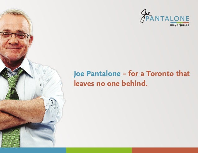 Joe Pantalone – for a Toronto that leaves no one behind.