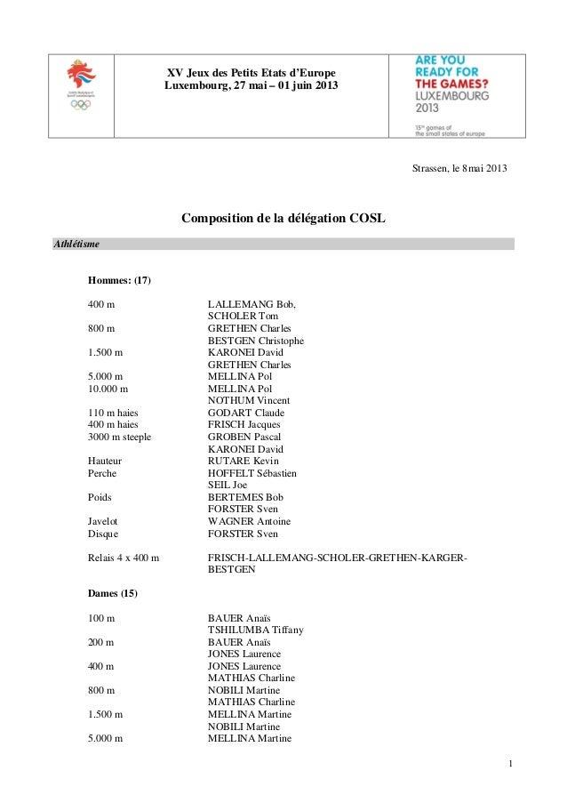 1XV Jeux des Petits Etats d'EuropeLuxembourg, 27 mai – 01 juin 2013Strassen, le 8mai 2013Composition de la délégation COSL...