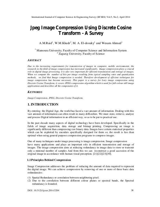 Jpeg image compression using discrete cosine transform   a survey