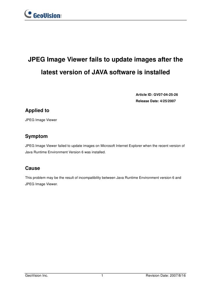 JPEG Image Viewer fails to update images after the         latest version of JAVA software is installed                   ...