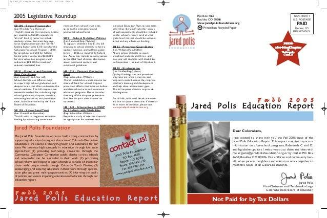 Jared Polis Foundation Education Report Fall 2005