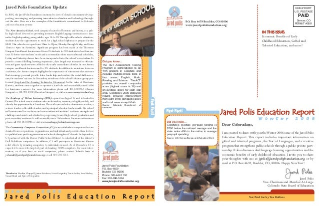 Jared Polis Foundation Education Report Winter 2006