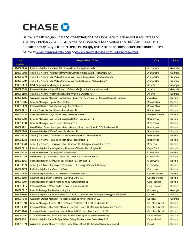 Belowisthe JPMorgan Chase SoutheastRegion OpenJobsReport. Thisreportis accurate as of Tuesday,October22, 2013. All of the ...