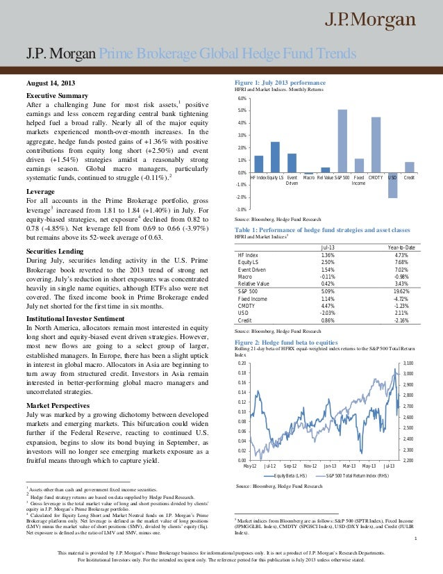 J.P. Morgan Prime Brokerage Global Hedge Fund Trends 1 This material is provided by J.P. Morgan's Prime Brokerage business...