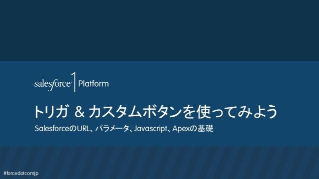 #forcedotcomjp トリガ & カスタムボタンを使ってみよう SalesforceのURL、パラメータ、Javascript、Apexの基礎