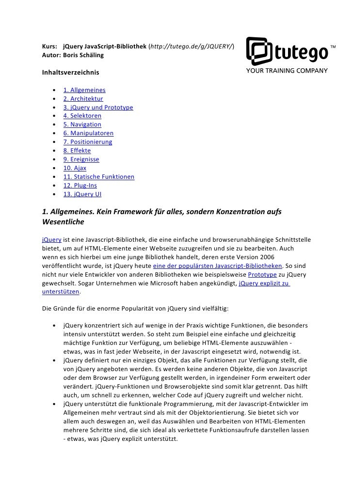 Schulung jQuery JavaScript-Bibliothek
