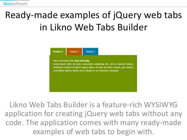 jQuery Web Tabs Examples by Likno Software