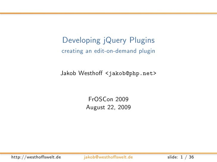 Developing jQuery Plugins with Ease
