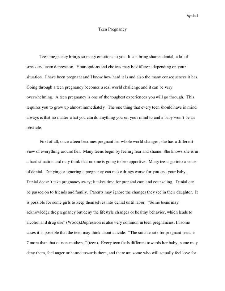 argumentative essay on teenage pregnancy