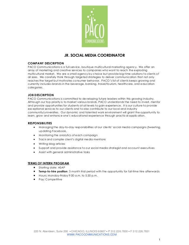 Jr. social media coordinator job description
