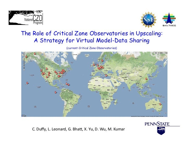 !The Role of Critical Zone Observatories in Upscaling:    A Strategy for Virtual Model-Data Sharing                       ...