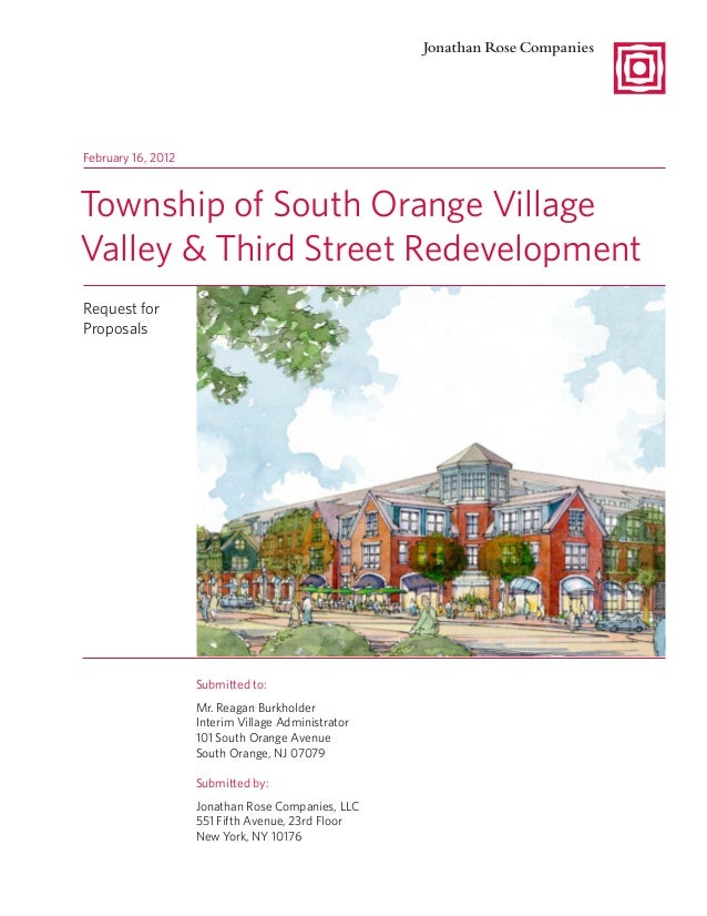 South Orange Third and Valley RFP Response from Jonathan Rose