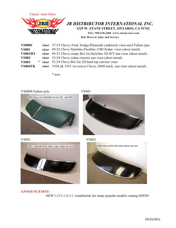 Classic Auto Glass                                JR DISTRIBUTOR INTERNATIONAL INC.                                      1...