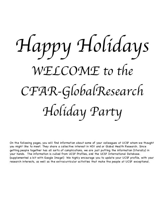 Happy Holidays               WELCOME to the        CFAR-GlobalResearch                       Holiday PartyOn the following...