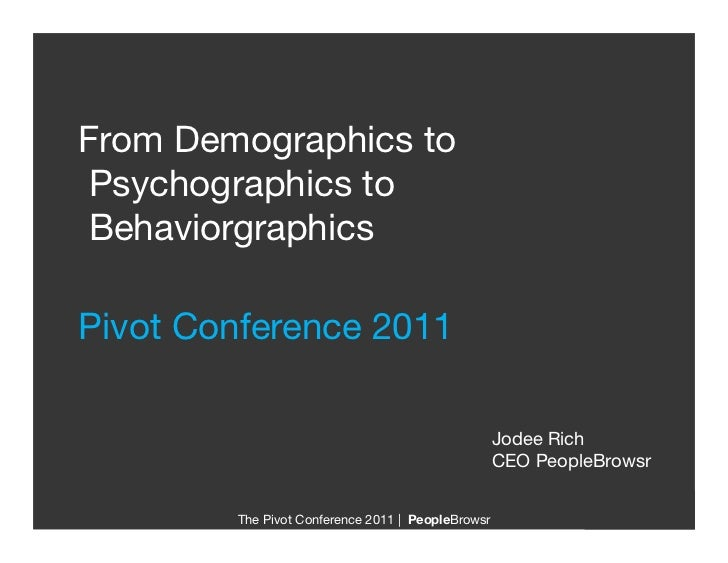 "From Demographics toPsychographics toBehaviorgraphics""Pivot Conference 2011                                               ..."