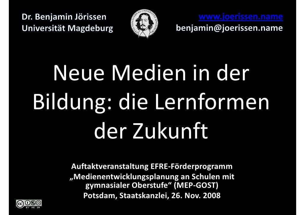 """Neue Medien in der Bildung: die Lernformen       der Zukunft    Auftaktveranstaltung EFRE-Förderprogramm    """"Medienentwick..."""
