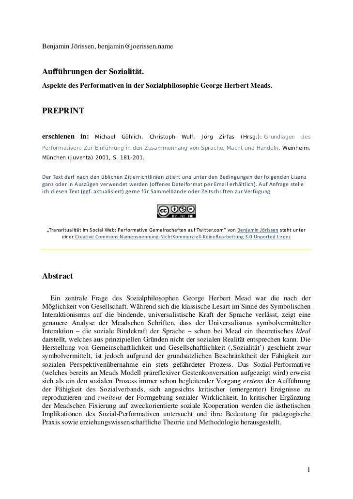 Benjamin Jörissen, benjamin@joerissen.nameAufführungen der Sozialität.Aspekte des Performativen in der Sozialphilosophie G...