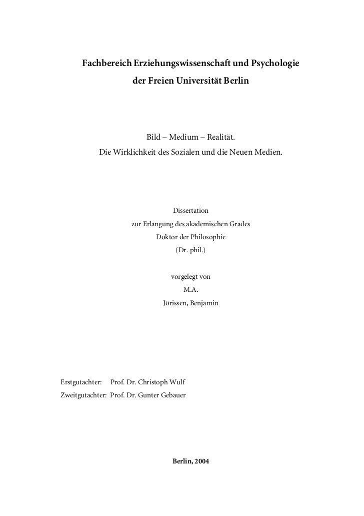 Fachbereich Erziehungswissenschaft und Psychologie                        der Freien Universität Berlin                   ...