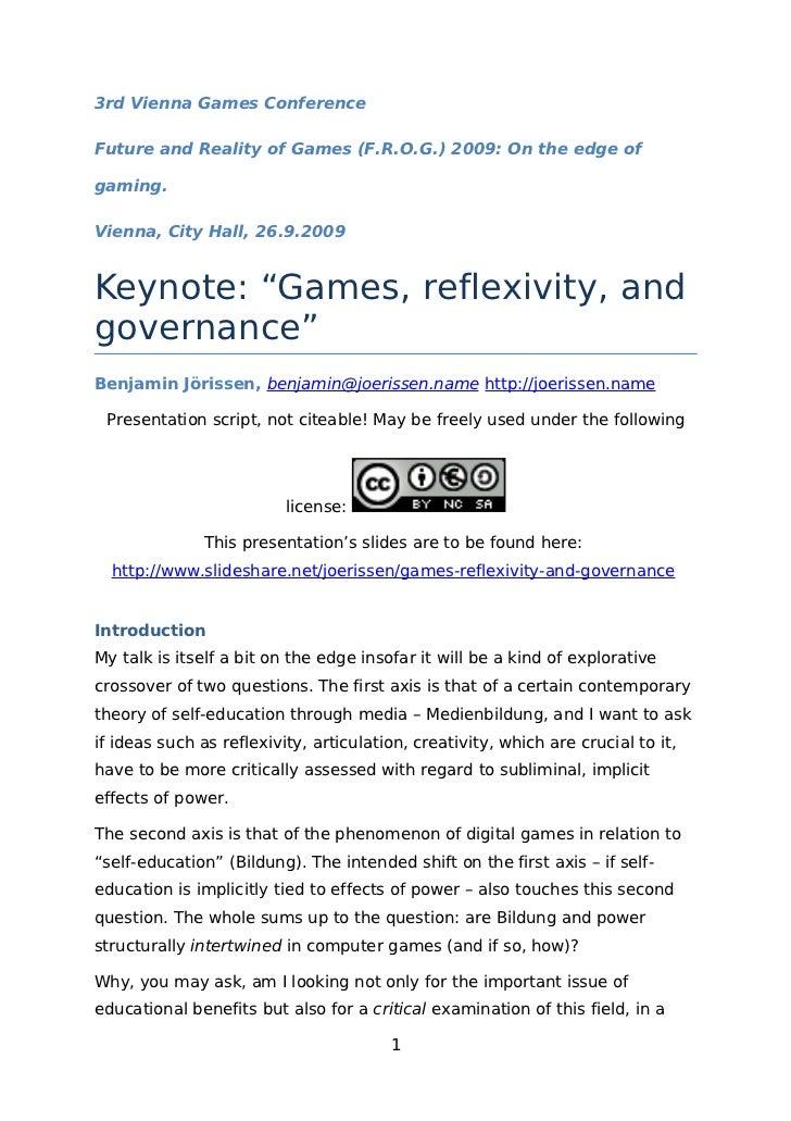 Jörissen, Benjamin (2009, Manuskript). Games, reflexivity, and governance