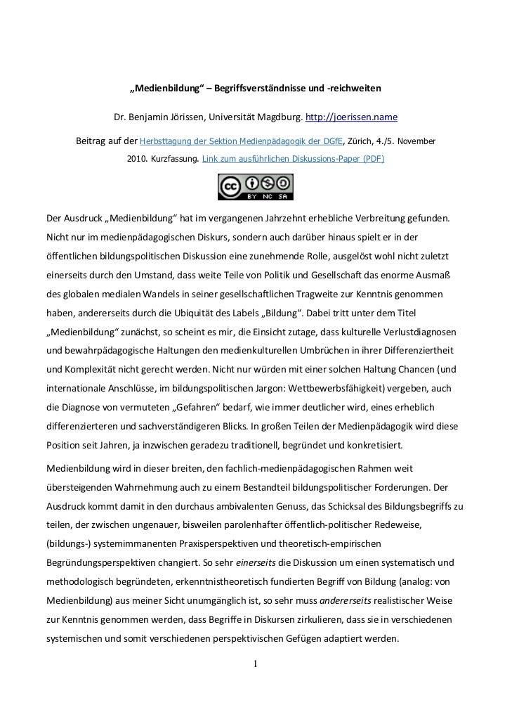 Jörissen, Benjamin (2010, Manuskript). Medienbildung - Begriffsverständnisse und -reichweiten