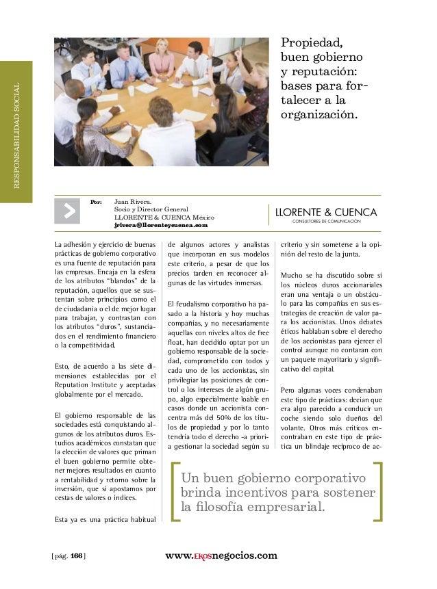 [pág. 166] Por: Juan Rivera.  Socio y Director General  LLORENTE & CUENCA México  jrivera@llorenteycuenca.com La adhes...