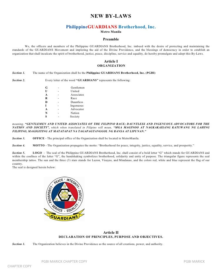NEW BY-LAWS                                            PhilippineGUARDIANS Brotherhood, Inc.                              ...
