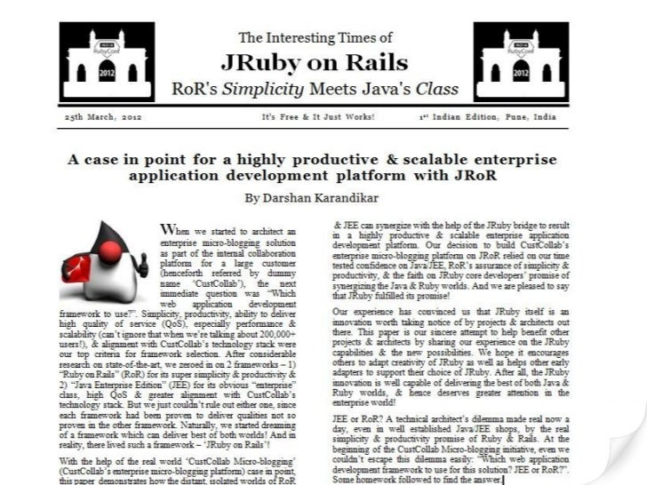 JRuby on Rails - RoR's Simplicity Meets Java's Class (a case in point)