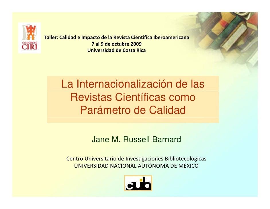 Internacionalización de las Revistas Científicas Calidad-Russel